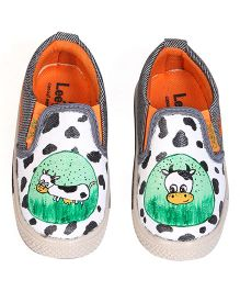 Brush Strokes Cow Hand Painted Canvas Shoes - Black White Green
