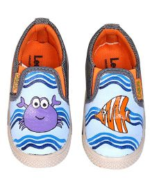 Brush Strokes Under The Sea Hand Painted Canvas Shoes - Blue Orange Purple