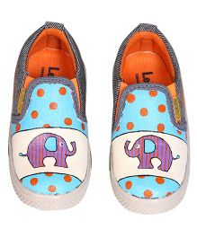 Brush Strokes Elephant Hand Painted Canvas Shoes - Blue & White