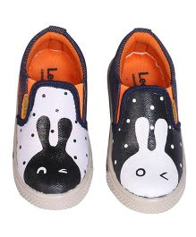 Brush Strokes Rabbit Hand Painted Canvas Shoes - Black & White