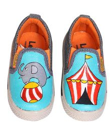 Brush Strokes Circus Hand Painted Canvas Shoes - Blue Red