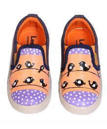 Brush Strokes Birds Hand Painted Canvas Shoes - Purple & Peach