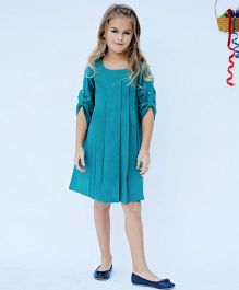 Yo Baby Semi Flare Tab-Sleeve Shift Dress - Teal