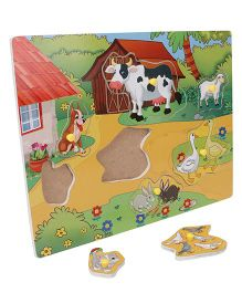 Anindita Wooden Puzzle Domestic Animals With Environment - Multi Color