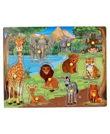 Anindita Wooden Puzzle Wild Animals With Environment - Multi Color