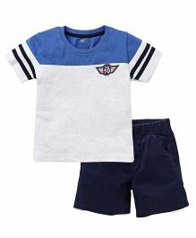 Babyhug Half Sleeve T-Shirt And Shorts Set - White Blue