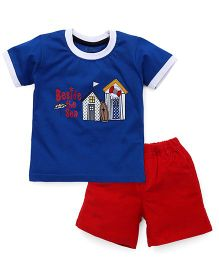Babyhug Half Sleeves T-Shirt & Woven Shorts With Beside The Sea Print - Red Blue