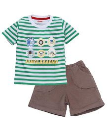 Babyhug Half Sleeves Striped Tee & Shorts - Green & Brown