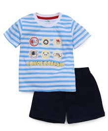 Babyhug Half Sleeves Striped Tee & Shorts - Royal & Navy Blue