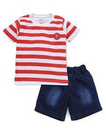 Babyhug Half Sleeves Striped Tee & Shorts - Red & Blue