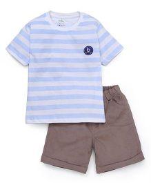 Babyhug Half Sleeves Striped Tee & Shorts - Blue & Brown