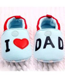 Wow Kiddos I Love Dad Soft Sole Sneakers - Red & White