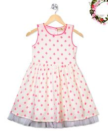 Budding Bees Floral Fit & Flare Dress - Off White & Pink