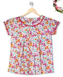 Budding Bees Girls Floral Printed Cute Top - Pink & Green