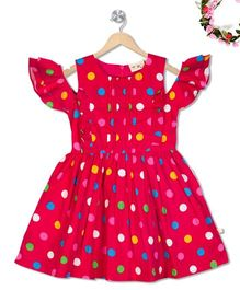 Budding Bees Multi Polka Gathered Dress - Dark Pink