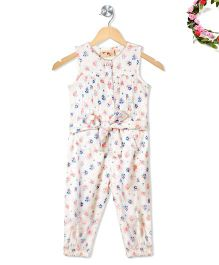 Budding Bees Cute Floral Jumpsuit With Belt - Off White