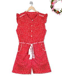 Budding Bees Polka Dot Jumpsuit - Red