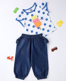 Tambourine Polka Dot Top With Ice Cream Applique & Denim Pant - White & Blue