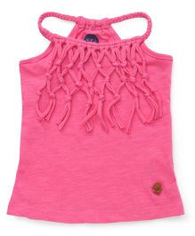 Vitamins Halter Neck Tee With Fringes - Pink