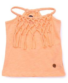 Vitamins Halter Neck Tee With Fringes - Salmon Buff