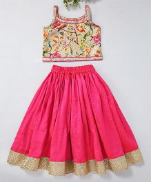 Mom'S Girl Peacock Leaf & Floral Printed Blouse With Flare Lehenga & Lace Embroidery At Bottom - Pink