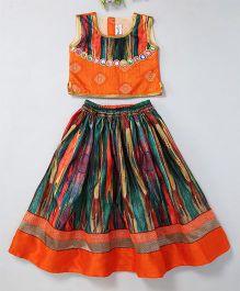 Mom'S Girl Semi Visible Mirror Work Blouse & Lehenga With Lace Work - Orange