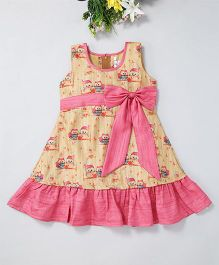 Mom'S Girl A-Line Owl Printed Dress With Bow And Ribbon At Waist - Pink