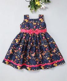 Mom'S Girl Butterfly Printed Dress With Lace & Bow Applique At Waist - Blue