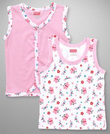 Babyhug Sleeveless Vest Butterfly Print Set of 2 - Pink White