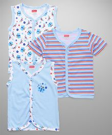 Babyhug Sleeveless And Half Sleeves Vests Pack of 3 - Blue White