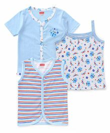 Babyhug Sleeveless Half Sleeves Vests And Singlet Slip Pack of 3 - White Blue
