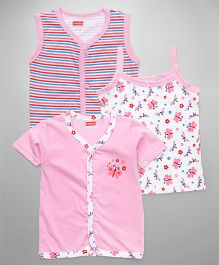 Babyhug Sleeveless Half Sleeves Vests And Singlet Slip Pack of 3 - White Pink