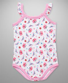 Babyhug Sleeveless Onesie Floral & Butterfly Print - White Pink