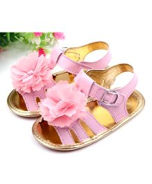 Dazzling Dolls Sandals With Flower Applique - Pink