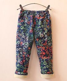 Dazzling Dolls Floral Print Stretchable Thick Winter Pants With Fleece Lining - Blue