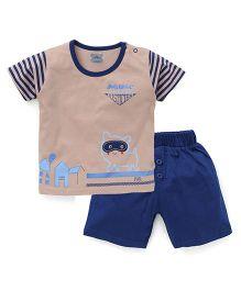 Mini Taurus Half Sleeves T-Shirt Printed And Shorts - Beige Blue