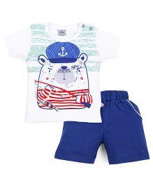 Mini Taurus Half Sleeves T-Shirt With Print And Shorts Set - White Royal Blue