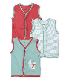 Ohms Sleeveless Vests Multi Print Pack Of 3 - Red Green
