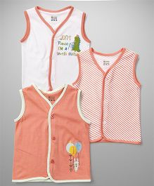 Ohms Sleeveless Vests Multi Print Pack Of 3 - White Peach