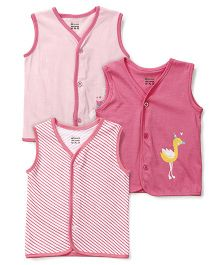 Ohms Sleeveless Vests Multi Print Pack Of 3 - White Pink