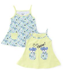 OHMS Singlet Neck Frock Pack Of 2 - Yellow And Blue