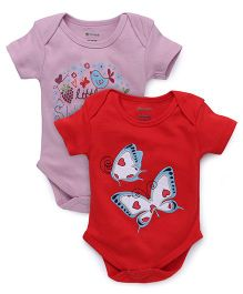 Ohms Half Sleeves Onesies Butterfly Print Pack Of 2 - Red And Pink