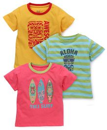 Ohms Half Sleeves Printed T-Shirt Pack Of 3 - Pink Yellow Green