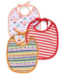 Ohms Tie Knot Bibs Pack Of 3 - Multicolor