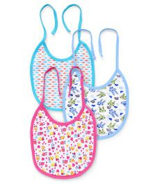 Ohms Tie Knot Bibs Multiprint Pack Of 3 - Pink And Blue