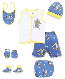 Ohms Clothing Set Bug Print Pack Of 7 - Blue And Yellow