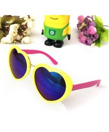 Princess Cart Mirrored Heart Sunglasses - Yellow
