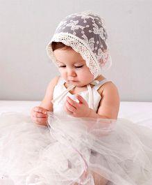 Princess Cart Retro Christening Cap - White