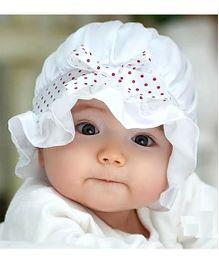 Princess Cart Lace Dot Sun Cap - White