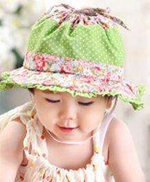 Princess Cart Floral Lace Cotton Summer Cap - Green